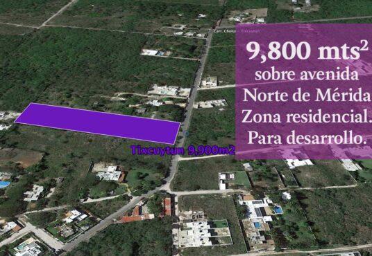 terreno 9800 m2 norte de merida en zona residencial para desarrollo inmobiliario